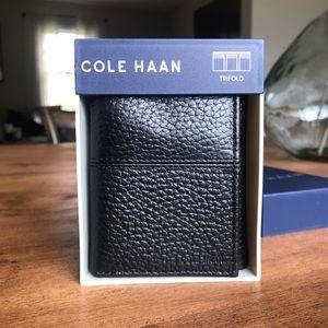 NIB Cole Haan Black Trifold Wallet